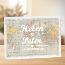 Personalised Typography Map Crystal - Unusual  Romantic Wedding, Anniversary or Valentine's Keepsake